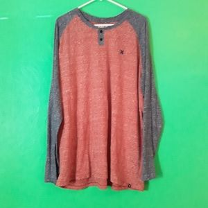 Hurley Red & Navy Long Sleeve Henley